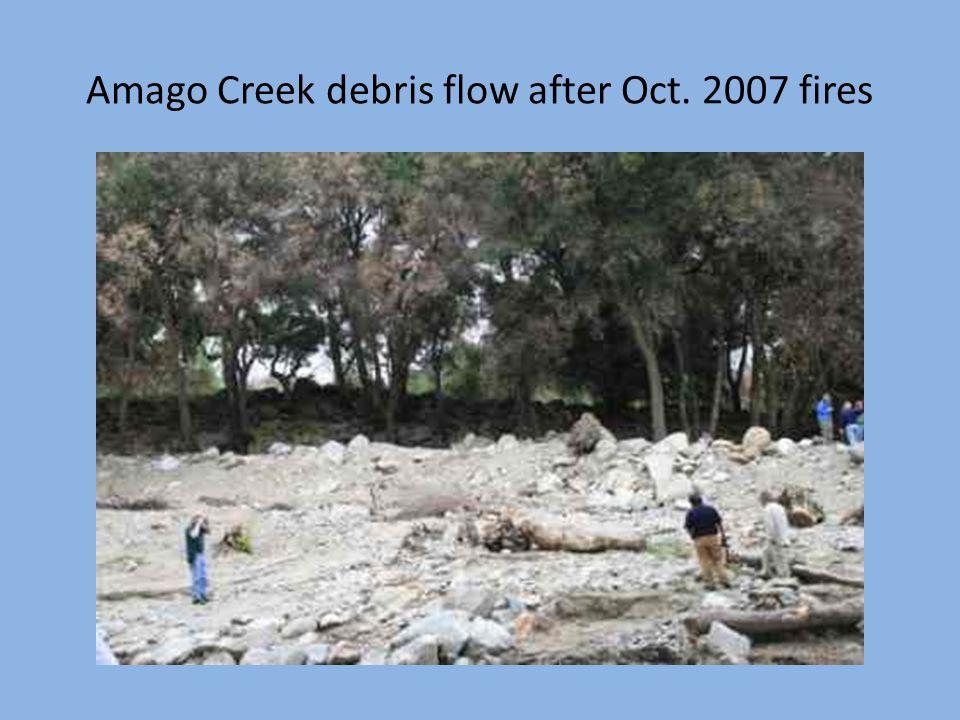 Amago Creek debris flow after Oct. 2007 fires