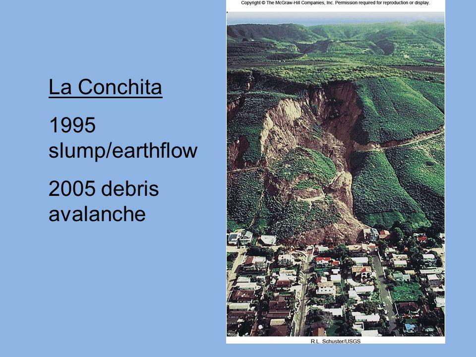 La Conchita 1995 slump/earthflow 2005 debris avalanche