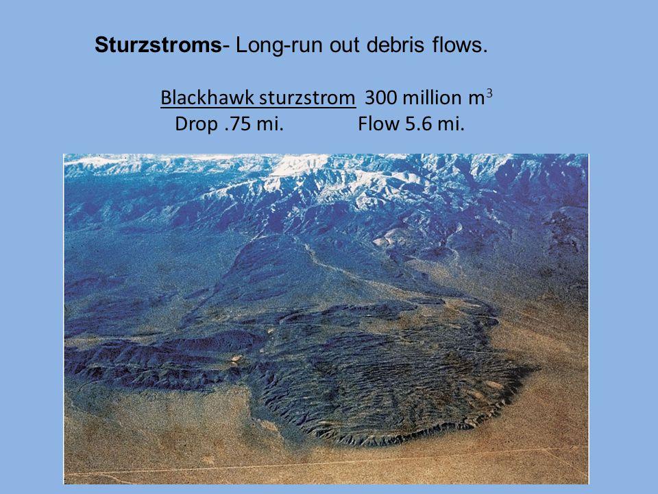 Sturzstroms- Long-run out debris flows.