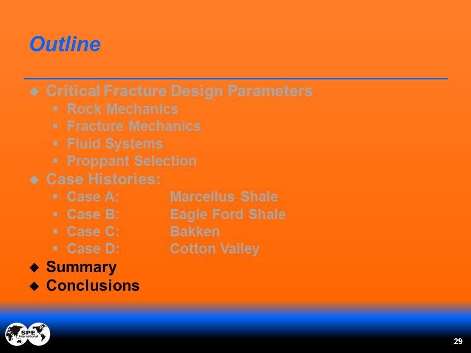 Outline  Critical Fracture Design Parameters  Rock Mechanics  Fracture Mechanics  Fluid Systems  Proppant Selection  Case Histories:  Case A:Ma