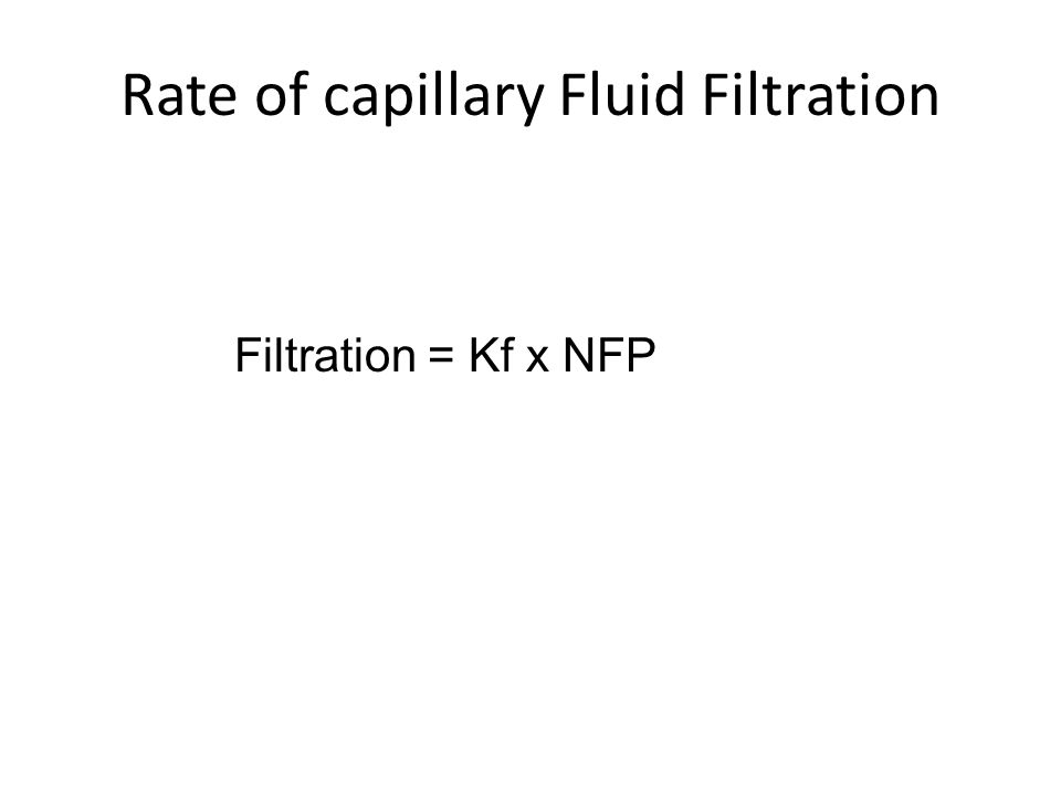 Rate of capillary Fluid Filtration Filtration = Kf x NFP