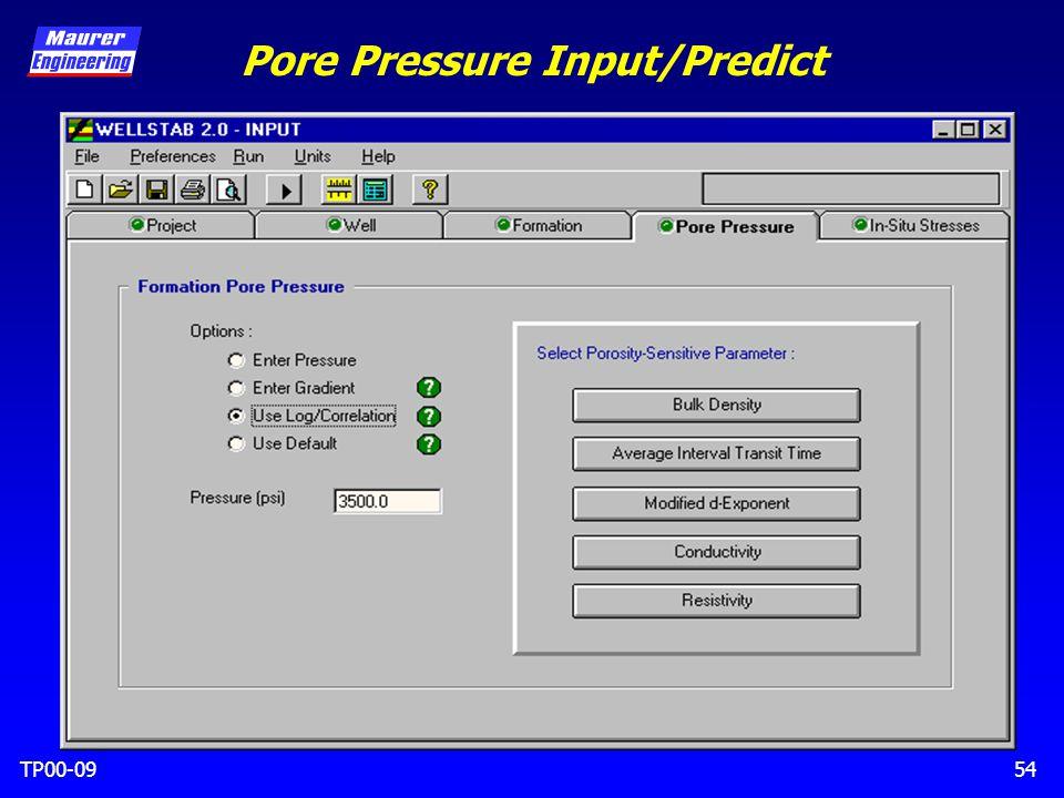 TP00-0954 Pore Pressure Input/Predict