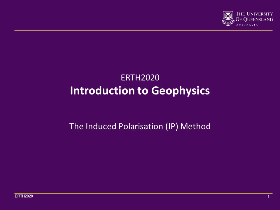 ERTH2020 32 With the dipole-dipole array, measurements of apparent resistivity and apparent chargeability are made at several n-spacings for each current electrode setup n = 1, 2, 3, etc.