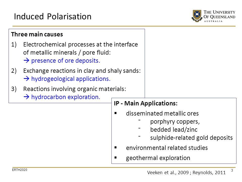 ERTH2020 44 Sogade et al, 2006 IP Data Interpretation Geological Cross-Section EDB (0.02) EDB (10) EDB (100) Example membrane polarisation
