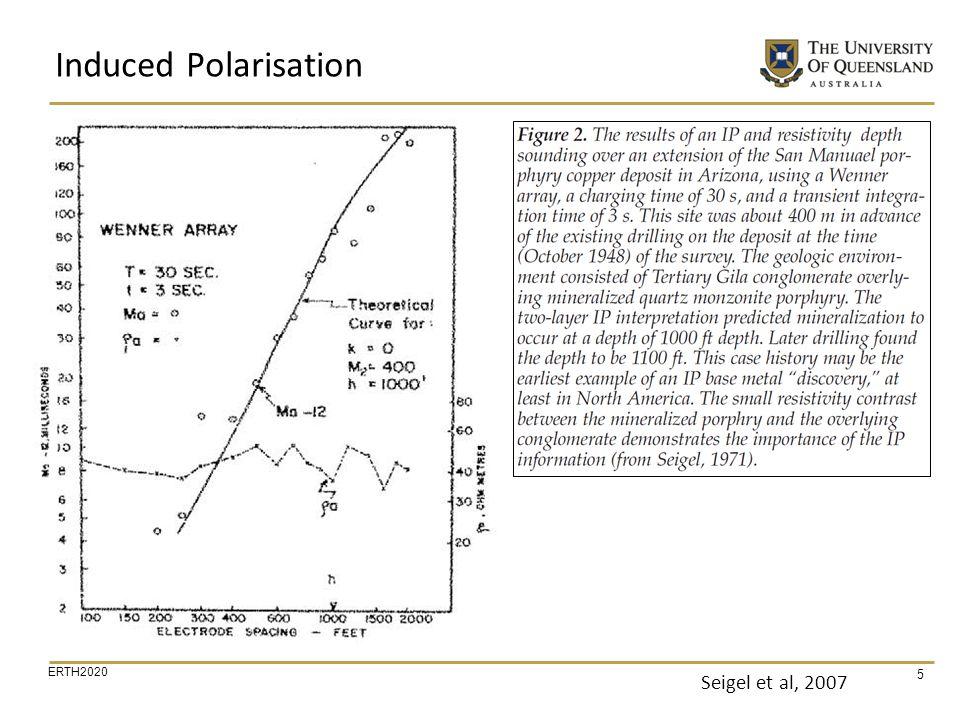 ERTH2020 46 Sogade et al, 2006 IP Data Interpretation 2D IP Section 2D resistivity Section EDB (100) Chargeability Anomalies (Contaminants ?) Chargeability (mV/V) EDB (100) Example membrane polarisation