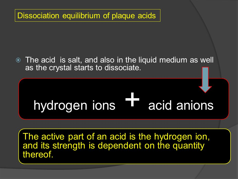  The acid is salt, and also in the liquid medium as well as the crystal starts to dissociate. hydrogen ions + acid anions The active part of an acid