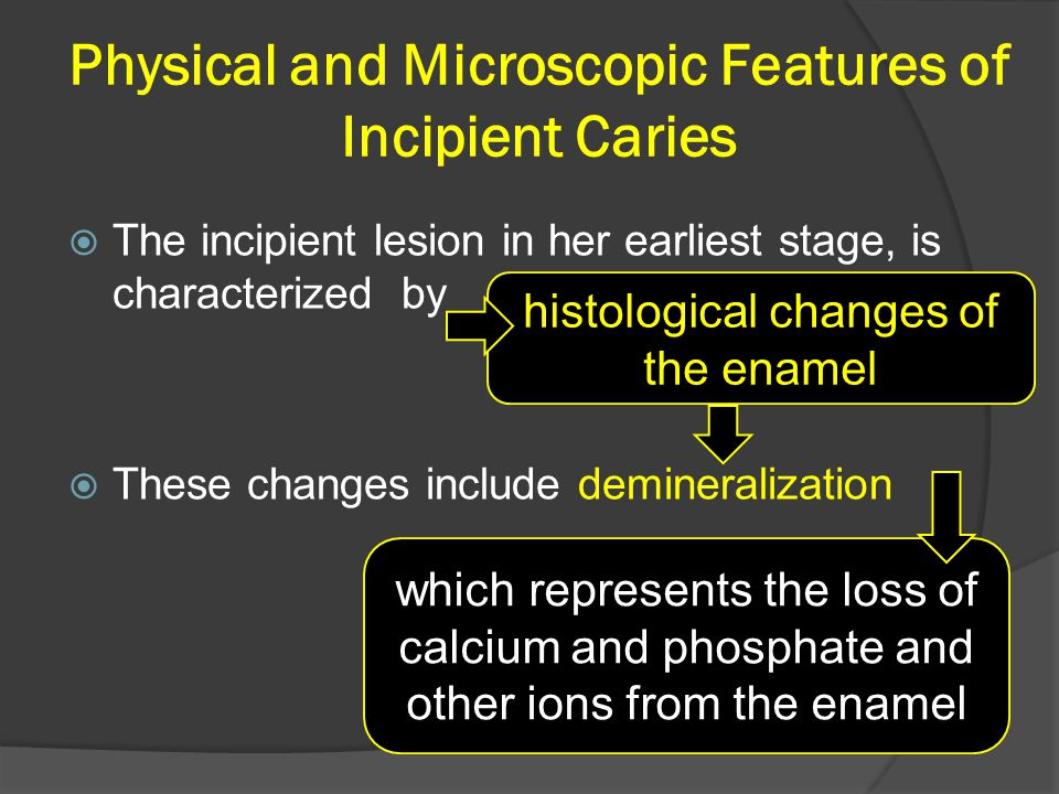 Physical and Microscopic Features of Incipient Caries  The incipient lesion in her earliest stage, is characterized by  These changes include demine