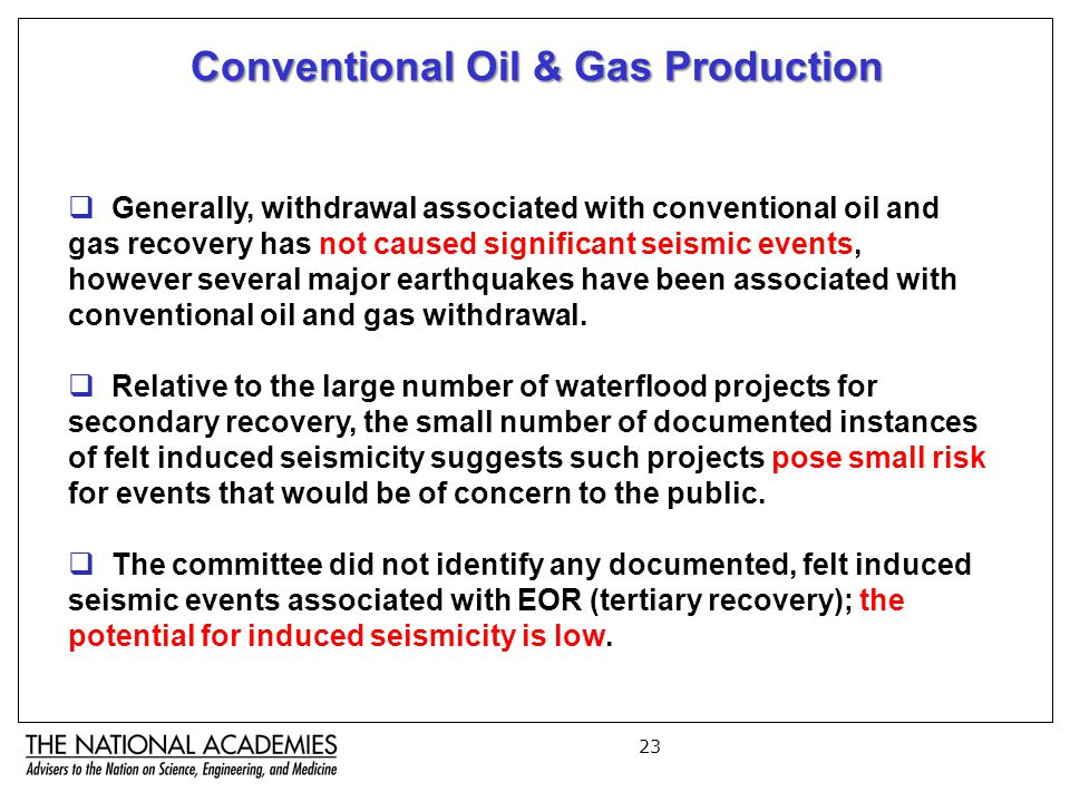 23 Conventional Oil & Gas Production  Generally, withdrawal associated with conventional oil and gas recovery has not caused significant seismic events, however several major earthquakes have been associated with conventional oil and gas withdrawal.