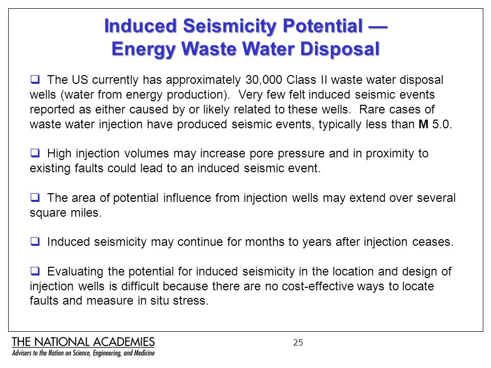 25 Induced Seismicity Potential — Energy Waste Water Disposal  The US currently has approximately 30,000 Class II waste water disposal wells (water from energy production).