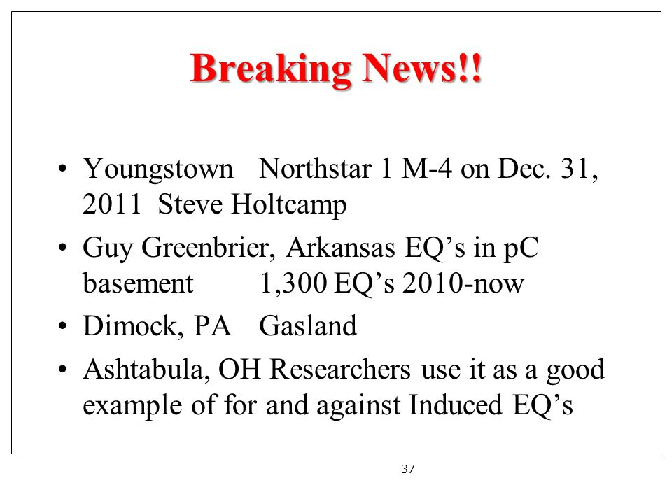 Breaking News!. YoungstownNorthstar 1 M-4 on Dec.