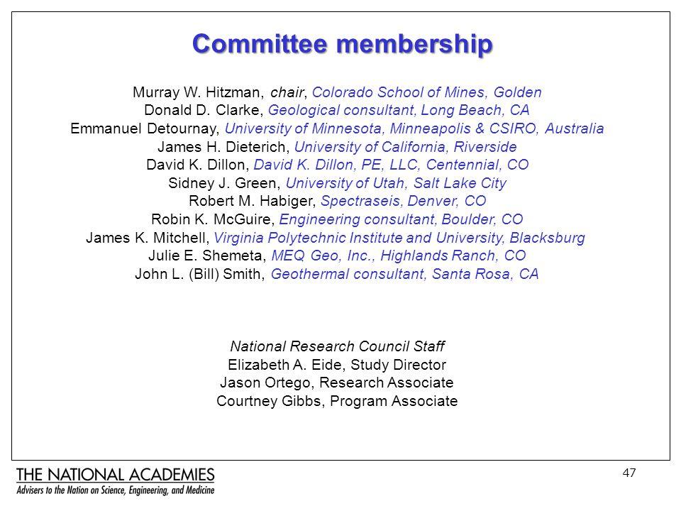 47 Committee membership Murray W. Hitzman, chair, Colorado School of Mines, Golden Donald D.