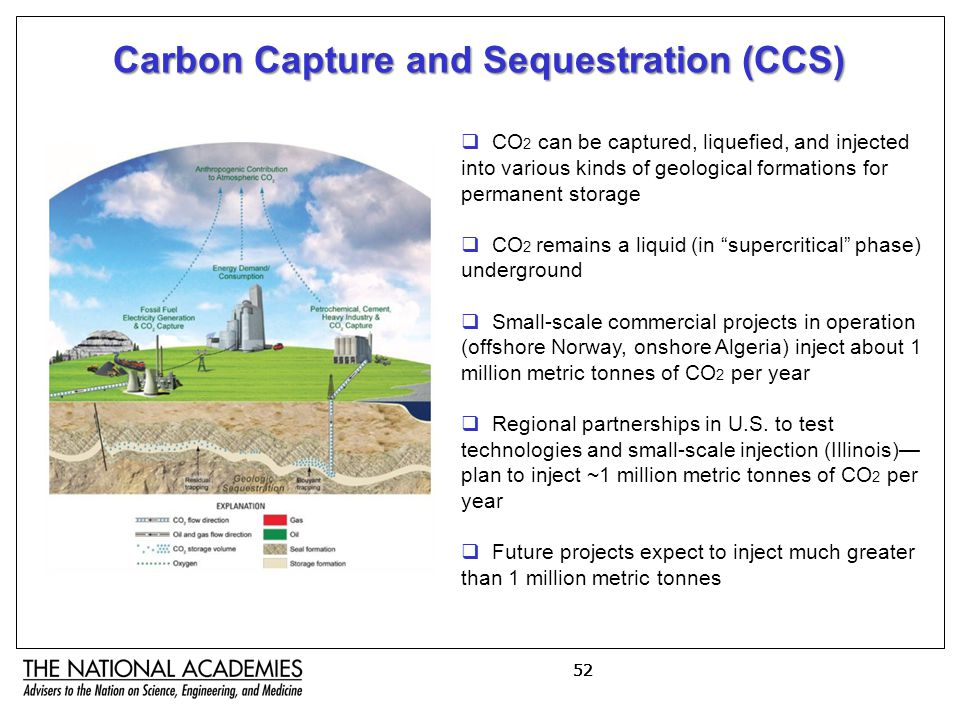 52 Carbon Capture and Sequestration (CCS)  CO 2 can be captured, liquefied, and injected into various kinds of geological formations for permanent storage  CO 2 remains a liquid (in supercritical phase) underground  Small-scale commercial projects in operation (offshore Norway, onshore Algeria) inject about 1 million metric tonnes of CO 2 per year  Regional partnerships in U.S.