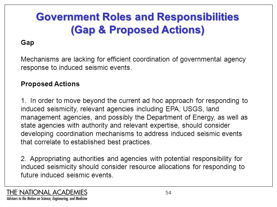 54 Government Roles and Responsibilities (Gap & Proposed Actions) Gap Mechanisms are lacking for efficient coordination of governmental agency response to induced seismic events.