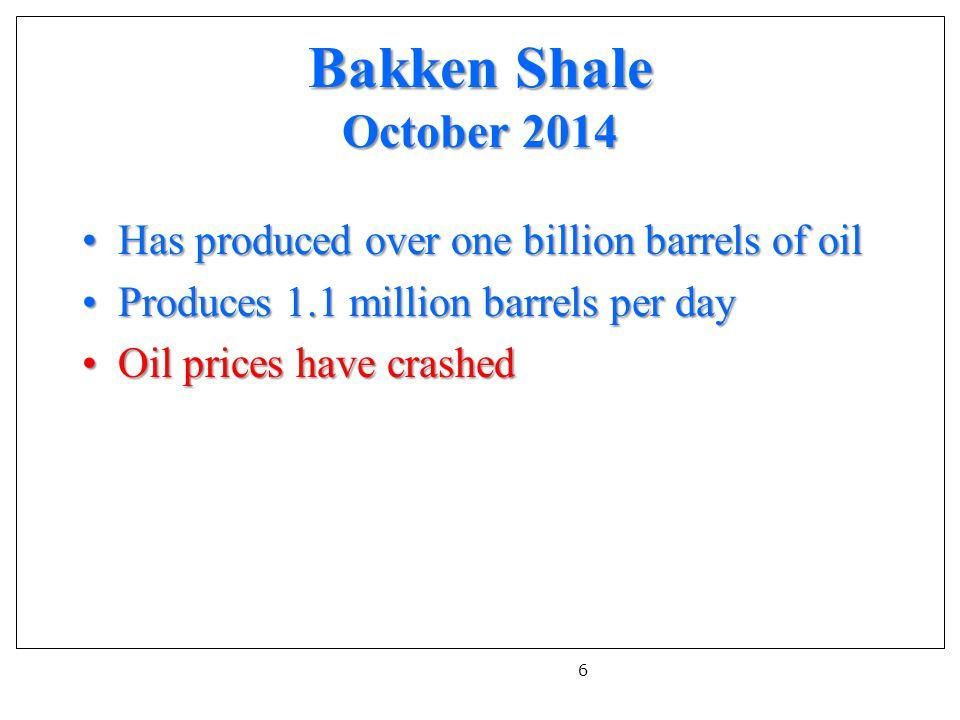 Bakken Shale October 2014 Has produced over one billion barrels of oilHas produced over one billion barrels of oil Produces 1.1 million barrels per dayProduces 1.1 million barrels per day Oil prices have crashedOil prices have crashed 6