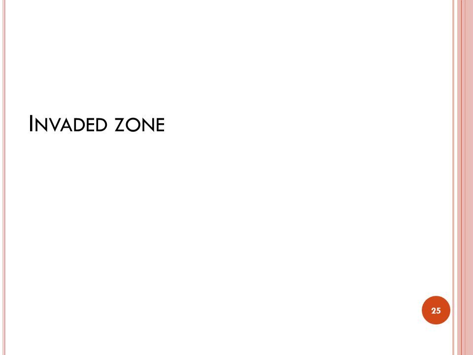 I NVADED ZONE The zone which is invaded by mud filtrate is called the invaded zone.