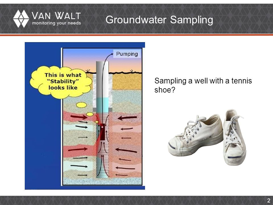 2 Groundwater Sampling Sampling a well with a tennis shoe