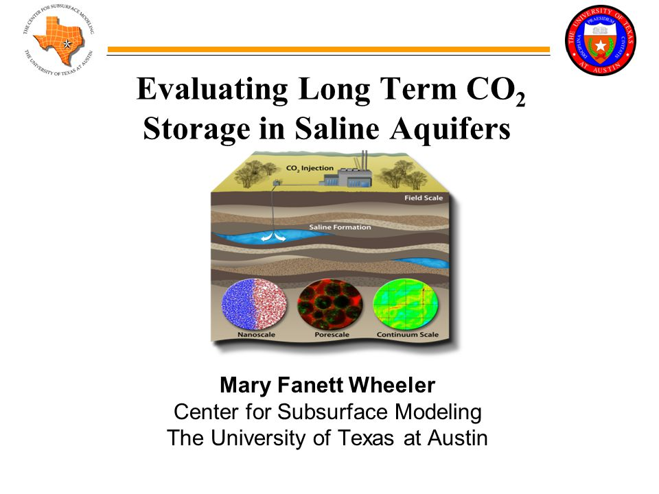 Evaluating Long Term CO 2 Storage in Saline Aquifers Mary Fanett Wheeler Center for Subsurface Modeling The University of Texas at Austin