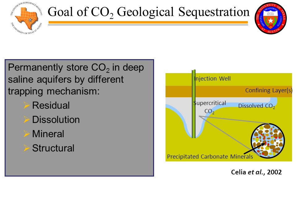 Goal of CO 2 Geological Sequestration Permanently store CO 2 in deep saline aquifers by different trapping mechanism:  Residual  Dissolution  Mineral  Structural Precipitated Carbonate Minerals Confining Layer(s) Injection Well Supercritical CO 2 Dissolved CO 2 Celia et al., 2002