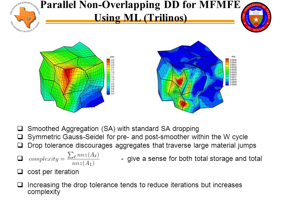 Parallel Non-Overlapping DD for MFMFE Using ML (Trilinos)  Smoothed Aggregation (SA) with standard SA dropping  Symmetric Gauss-Seidel for pre- and post-smoother within the W cycle  Drop tolerance discourages aggregates that traverse large material jumps  - give a sense for both total storage and total  cost per iteration  Increasing the drop tolerance tends to reduce iterations but increases complexity