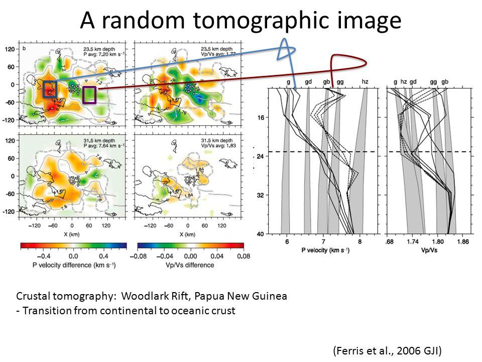 A random tomographic image (Ferris et al., 2006 GJI) Crustal tomography: Woodlark Rift, Papua New Guinea - Transition from continental to oceanic crust