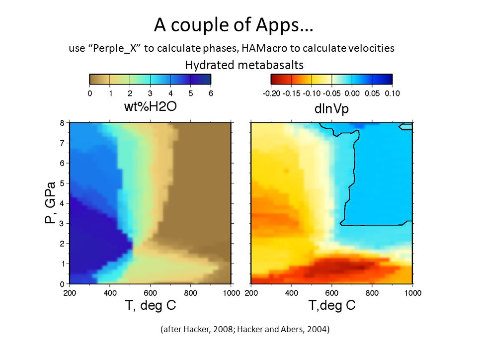 "A couple of Apps… Hydrated metabasalts (after Hacker, 2008; Hacker and Abers, 2004) use ""Perple_X"" to calculate phases, HAMacro to calculate velocitie"