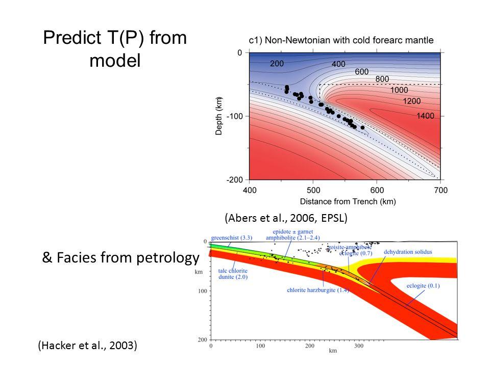 Predict T(P) from model (Abers et al., 2006, EPSL) & Facies from petrology (Hacker et al., 2003)