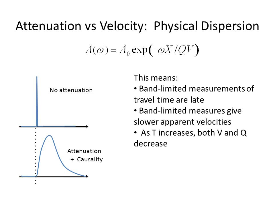 Attenuation vs Velocity: Physical Dispersion No attenuation Attenuation + Causality This means: Band-limited measurements of travel time are late Band
