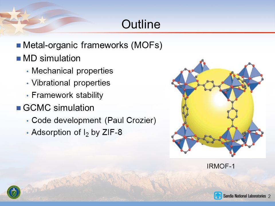 2 Outline Metal-organic frameworks (MOFs) MD simulation Mechanical properties Vibrational properties Framework stability GCMC simulation Code developm