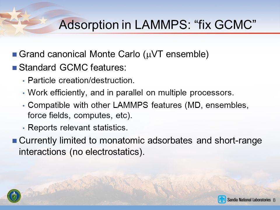 "8 Adsorption in LAMMPS: ""fix GCMC"" Grand canonical Monte Carlo (  VT ensemble) Standard GCMC features: Particle creation/destruction. Work efficientl"