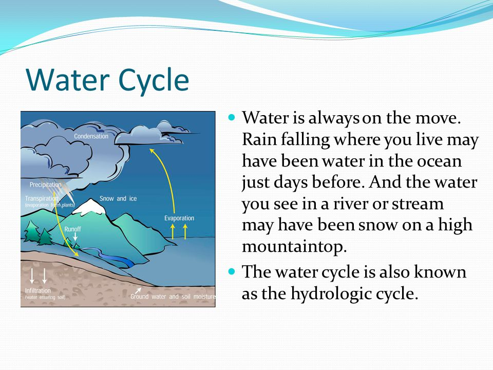 Water Cycle Water is always on the move. Rain falling where you live may have been water in the ocean just days before. And the water you see in a riv