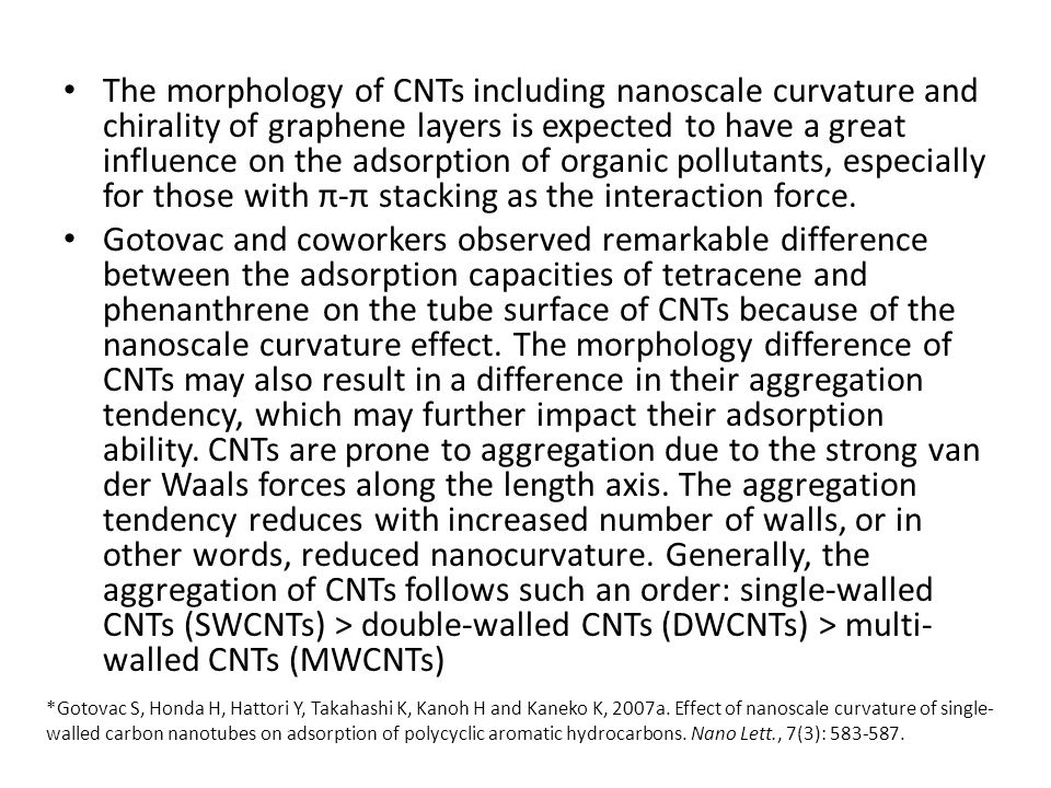 The morphology of CNTs including nanoscale curvature and chirality of graphene layers is expected to have a great influence on the adsorption of organ