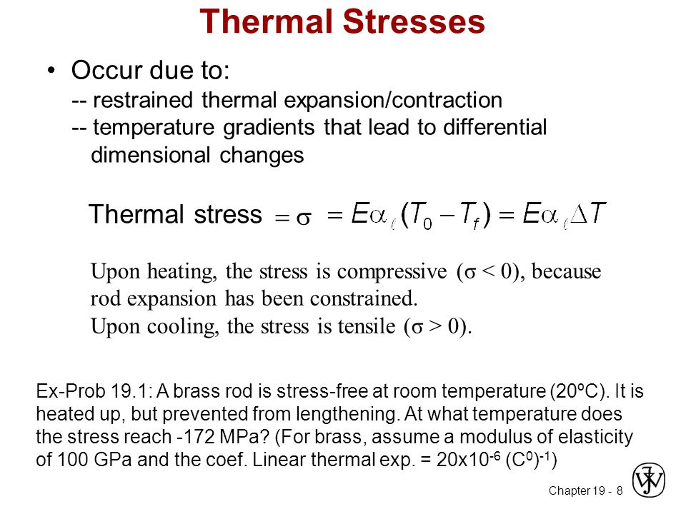 Chapter 19 - 8 Occur due to: -- restrained thermal expansion/contraction -- temperature gradients that lead to differential dimensional changes Thermal Stresses Thermal stress  Upon heating, the stress is compressive (σ < 0), because rod expansion has been constrained.