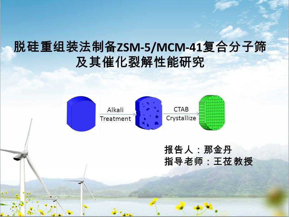 脱硅重组装法制备 ZSM-5/MCM-41 复合分子筛 及其催化裂解性能研究 报告人:那金丹 指导老师:王莅 教授 Alkali Treatment CTAB Crystallize