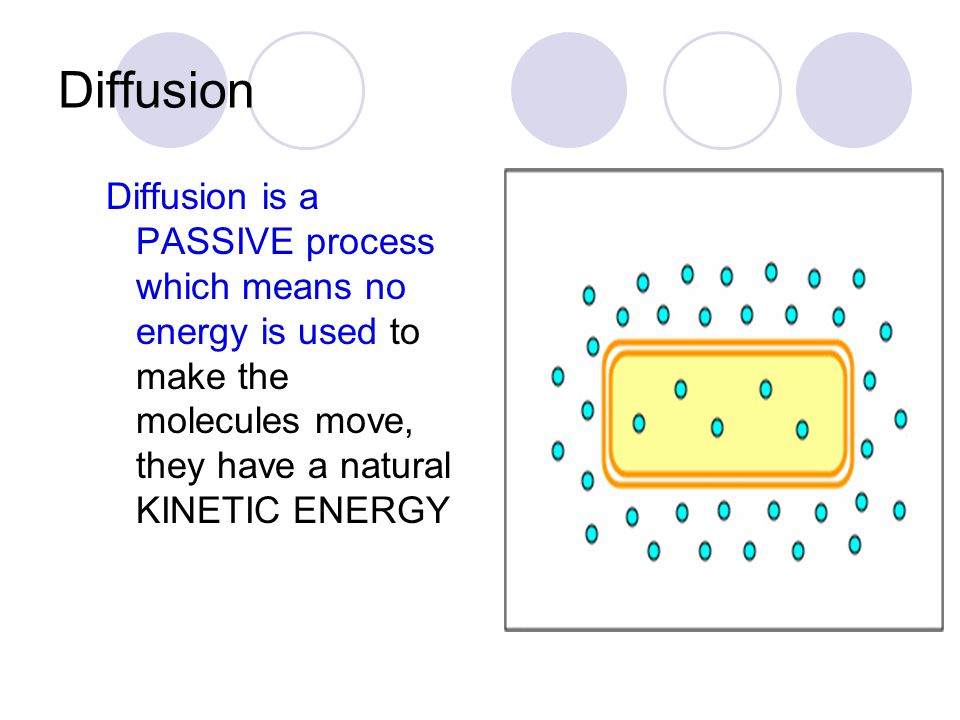 Diffusion Diffusion is a PASSIVE process which means no energy is used to make the molecules move, they have a natural KINETIC ENERGY