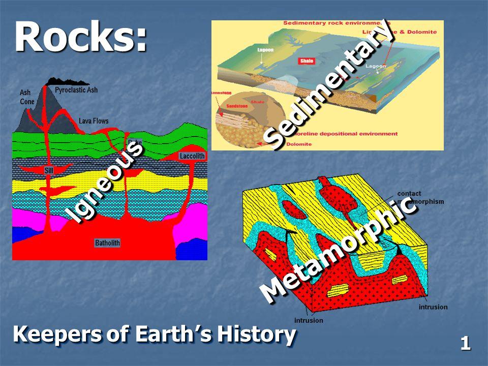 Rocks: IgneousIgneous SedimentarySedimentary MetamorphicMetamorphic Keepers of Earth's History 1