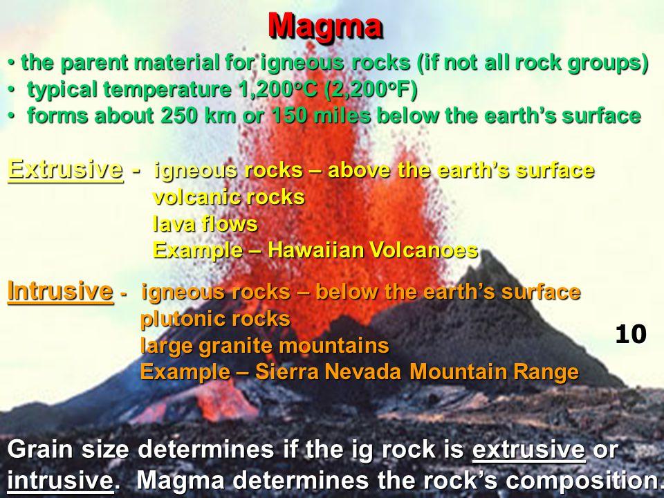 MagmaMagma Extrusive - igneous rocks – above the earth's surface volcanic rocks volcanic rocks lava flows lava flows Example – Hawaiian Volcanoes Exam