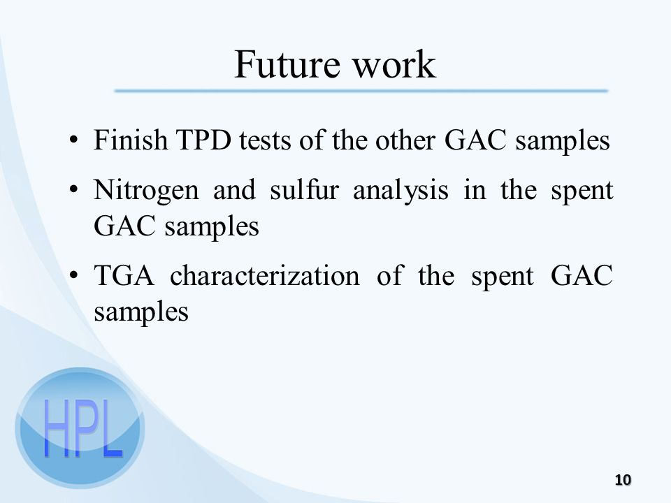 Future work Finish TPD tests of the other GAC samples Nitrogen and sulfur analysis in the spent GAC samples TGA characterization of the spent GAC samples 10