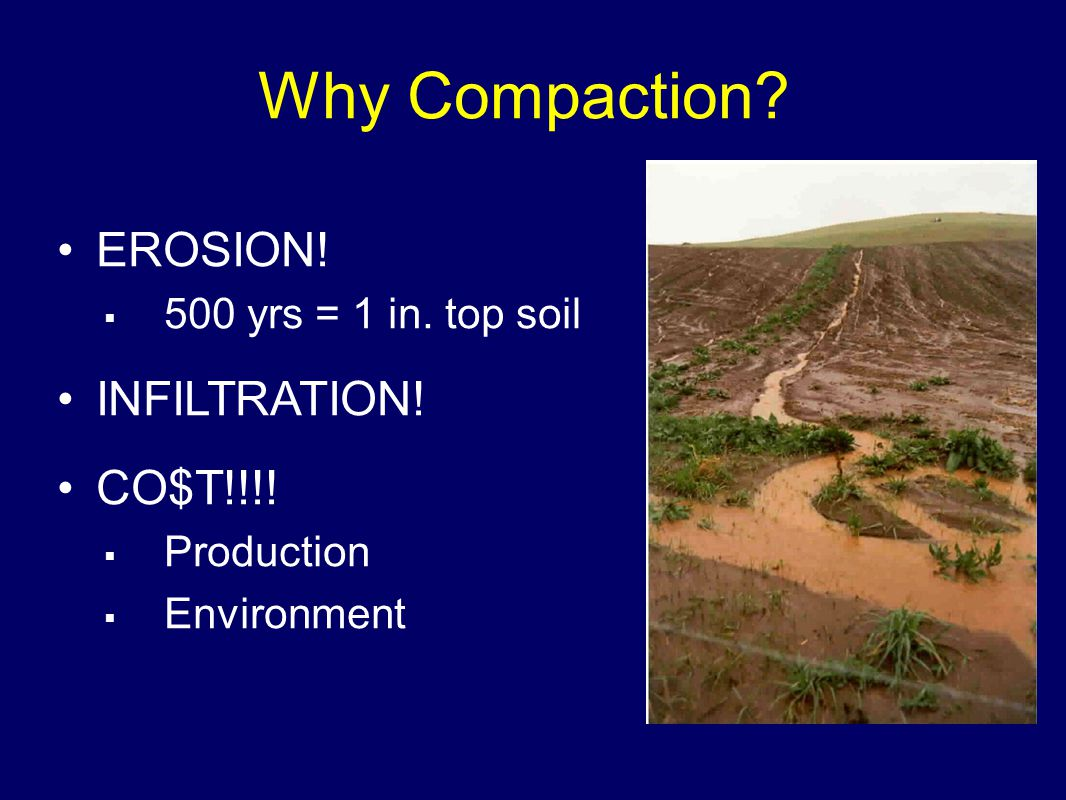 Why Compaction. EROSION.  500 yrs = 1 in. top soil INFILTRATION.