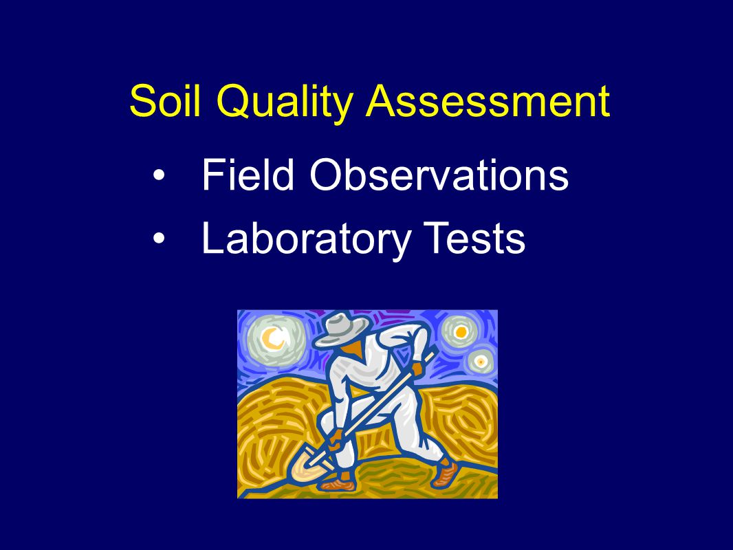 Soil Quality Assessment Field Observations Laboratory Tests