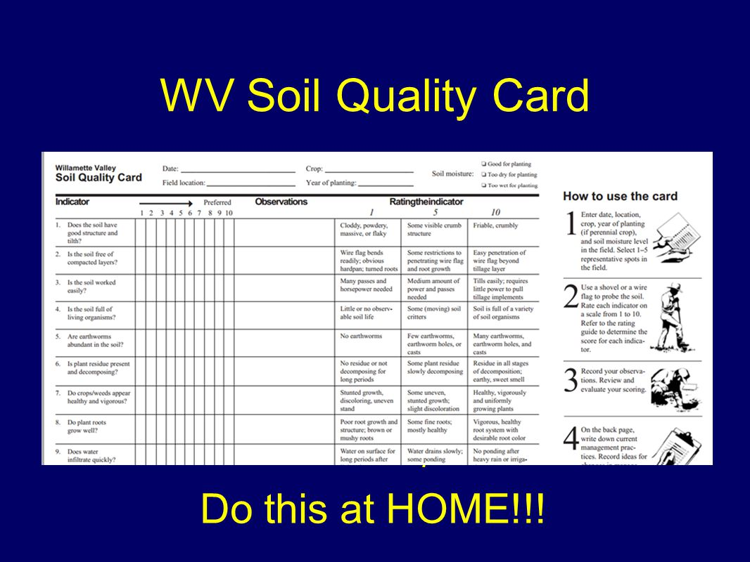 WV Soil Quality Card Willamette Valley Soil Quality Card (EM 8711) Willamette Valley Soil Quality Card Guide (EM 8710) Online at OSU Extension publications Do this at HOME!!!
