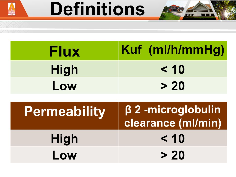 Kuf; Ultrafiltration coefficient Definitions Flux Kuf (ml/h/mmHg) High< 10 Low> 20 Permeability β 2 -microglobulin clearance (ml/min) High< 10 Low> 20