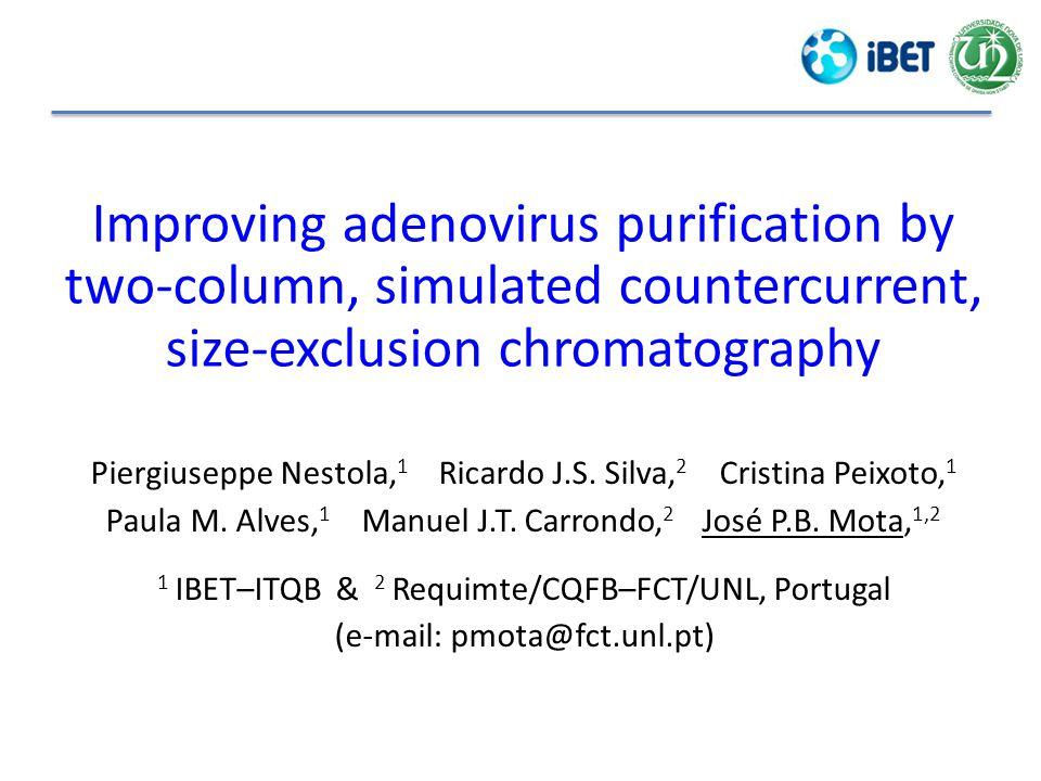 Improving adenovirus purification by two-column, simulated countercurrent, size-exclusion chromatography Piergiuseppe Nestola, 1 Ricardo J.S.