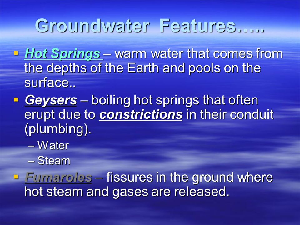 Groundwater Features…..