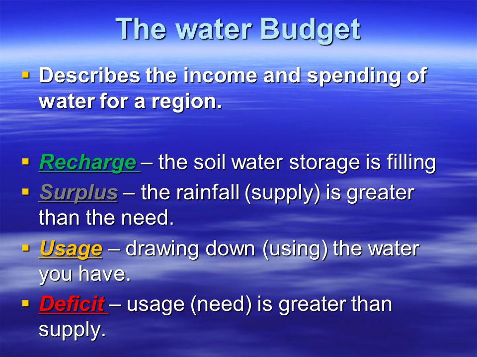 Water budget Graphs  They show two things 1. Moisture needed 2. Moisture supply