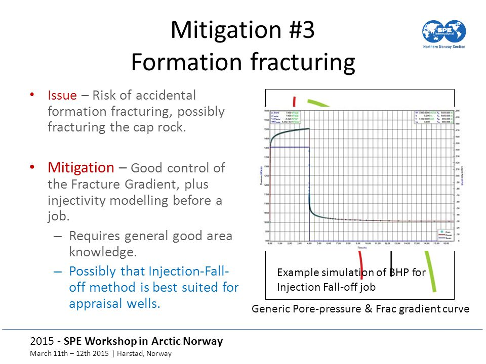 2015 - SPE Workshop in Arctic Norway March 11th – 12th 2015 | Harstad, Norway Generic Pore-pressure & Frac gradient curve Mitigation #3 Formation fracturing Issue – Risk of accidental formation fracturing, possibly fracturing the cap rock.