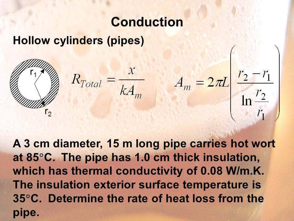 Conduction Hollow cylinders (pipes) A 3 cm diameter, 15 m long pipe carries hot wort at 85  C.