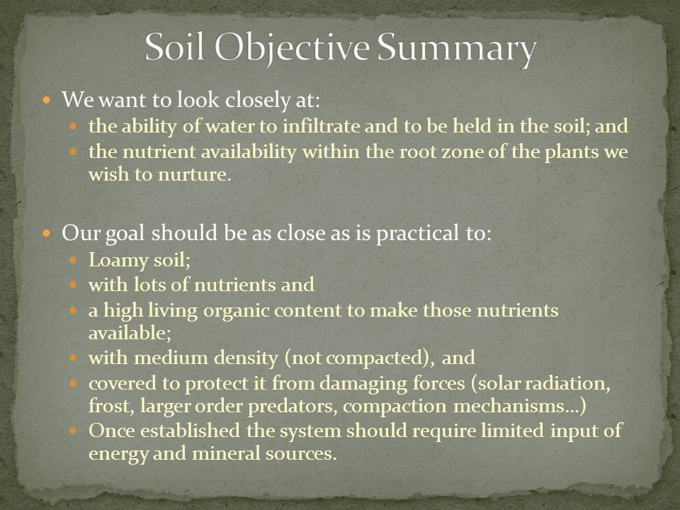 We want to look closely at: the ability of water to infiltrate and to be held in the soil; and the nutrient availability within the root zone of the p