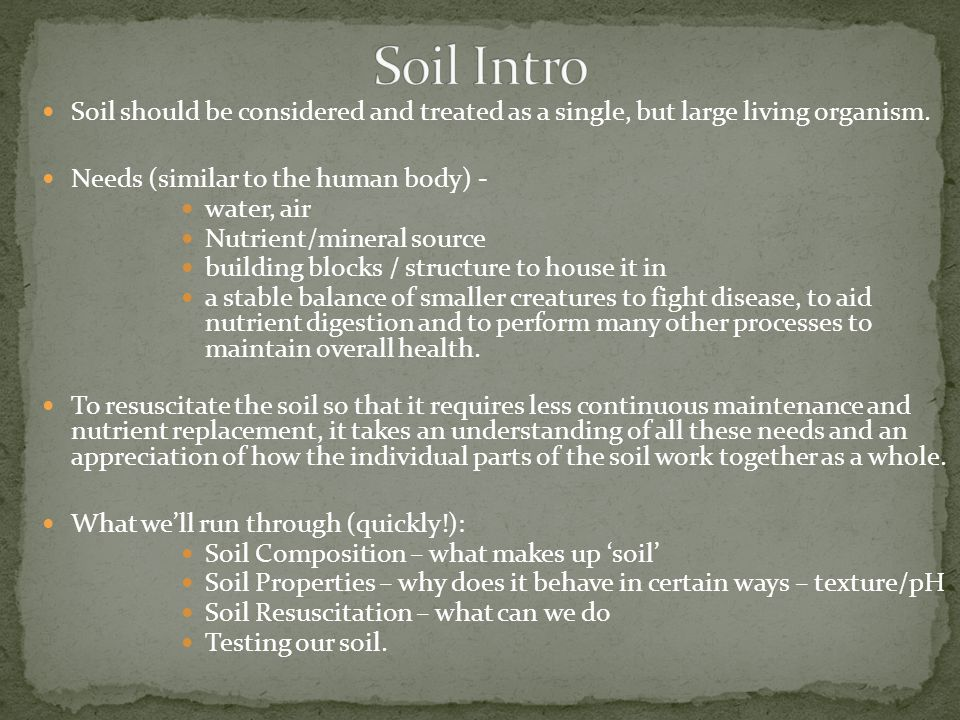 Soil should be considered and treated as a single, but large living organism. Needs (similar to the human body) - water, air Nutrient/mineral source b