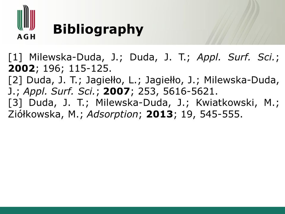 Bibliography [1] Milewska-Duda, J.; Duda, J. T.; Appl.