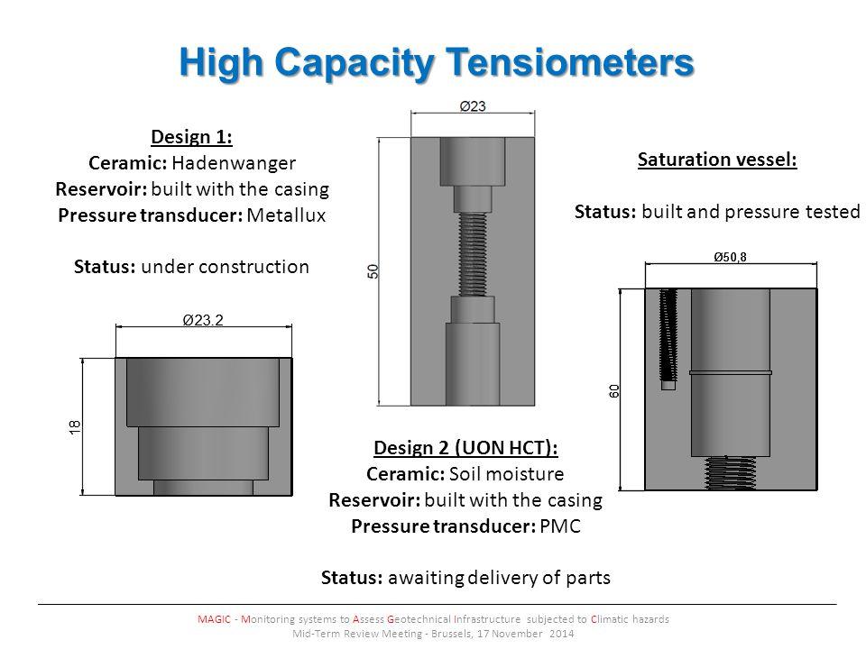 Ceramic properties MAGIC - Monitoring systems to Assess Geotechnical Infrastructure subjected to Climatic hazards Mid-Term Review Meeting - Brussels, 17 November 2014 HaldenwangerSoil moisture 1 st Intrusion2 nd Intrusion1 st Intrusion2 nd Intrusion Total Pore Aream²/g 0.583 0.305 21.67016.678 Median Pore Diameternm 227.7 229.6 28.224.1 Bulk Density at 0.21 psiag/mL2.6811.313 Apparent (skeletal) Densityg/mL3.1081.879 Porosity%13.739.7630.1221.11 Mercury Intrusion Porosimeter Nitrogen Gas Porosimeter Nitrogen Gas Porosimeter